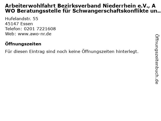 Arbeiterwohlfahrt Bezirksverband Niederrhein e.V., AWO Beratungsstelle für Schwangerschaftskonflikte und Familienplanung in Essen: Adresse und Öffnungszeiten