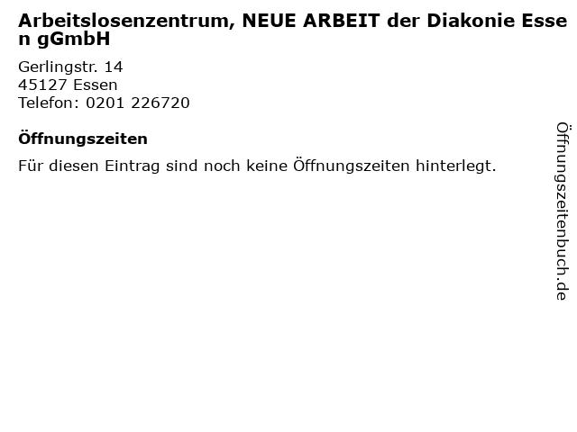 Arbeitslosenzentrum, NEUE ARBEIT der Diakonie Essen gGmbH in Essen: Adresse und Öffnungszeiten
