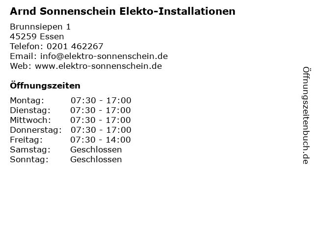 Arnd Sonnenschein Elekto-Installationen in Essen: Adresse und Öffnungszeiten