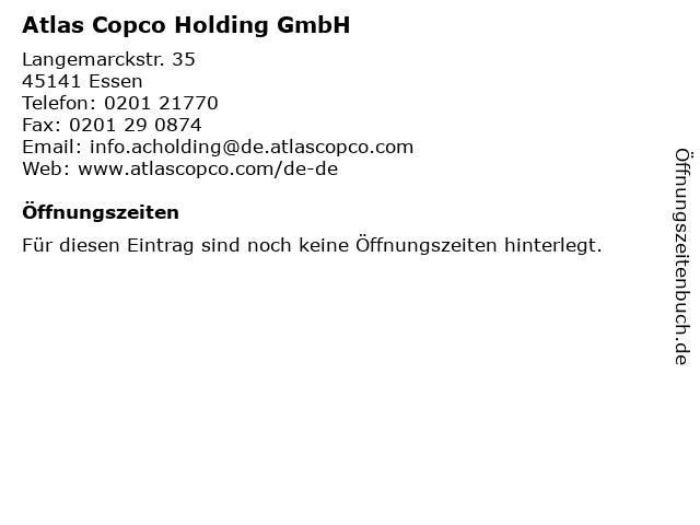 Atlas Copco Holding GmbH in Essen: Adresse und Öffnungszeiten