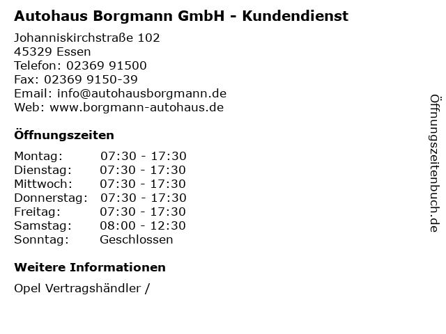 """ᐅ Öffnungszeiten """"autohaus borgmann gmbh - kundendienst"""
