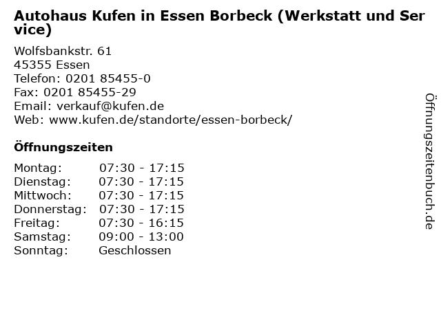Autohaus Kufen in Essen Borbeck (Werkstatt und Service) in Essen: Adresse und Öffnungszeiten