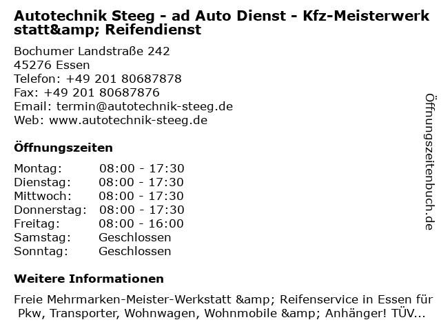 ad Auto Dienst W. Steeg Autotechnik & Reifendienst in Essen: Adresse und Öffnungszeiten