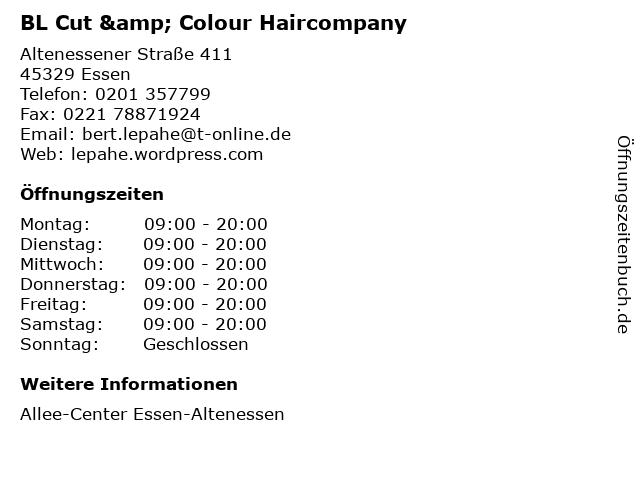 BL Cut & Colour Haircompany in Essen: Adresse und Öffnungszeiten