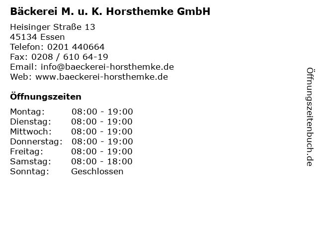 Bäckerei M. u. K. Horsthemke GmbH in Essen: Adresse und Öffnungszeiten