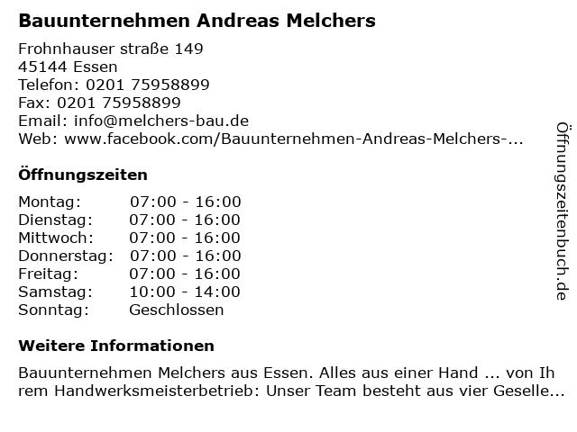 Bauunternehmen Andreas Melchers in Essen: Adresse und Öffnungszeiten
