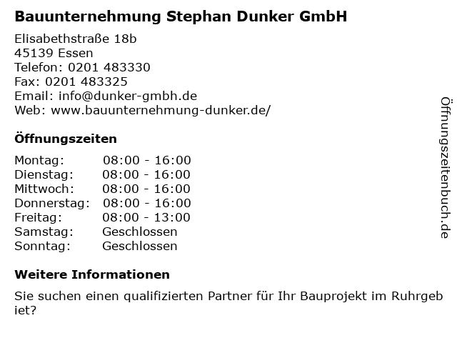 Bauunternehmung Stephan Dunker GmbH in Essen: Adresse und Öffnungszeiten