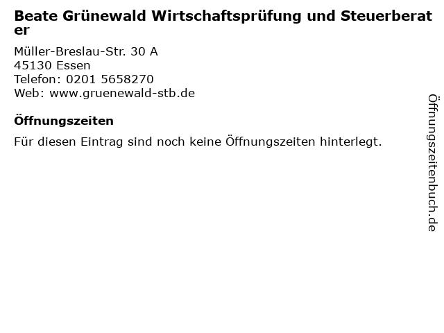 Beate Grünewald Wirtschaftsprüfung und Steuerberater in Essen: Adresse und Öffnungszeiten