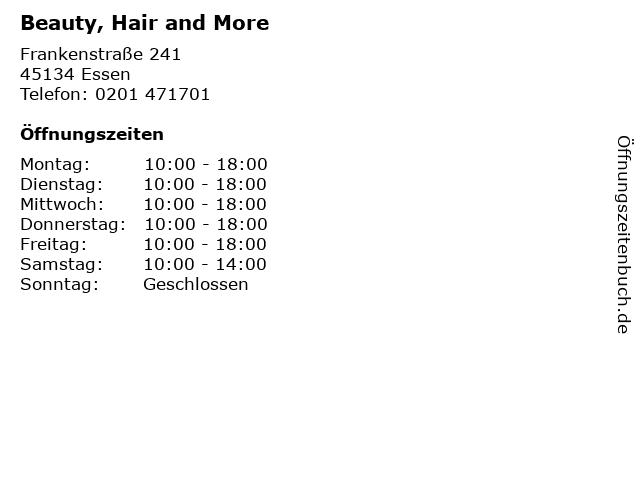 Beauty, Hair and More in Essen: Adresse und Öffnungszeiten