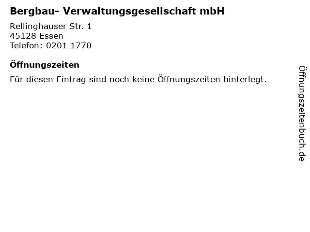 Bergbau- Verwaltungsgesellschaft mbH in Essen: Adresse und Öffnungszeiten