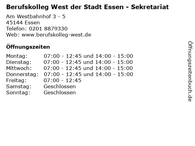 Berufskolleg West der Stadt Essen - Sekretariat in Essen: Adresse und Öffnungszeiten