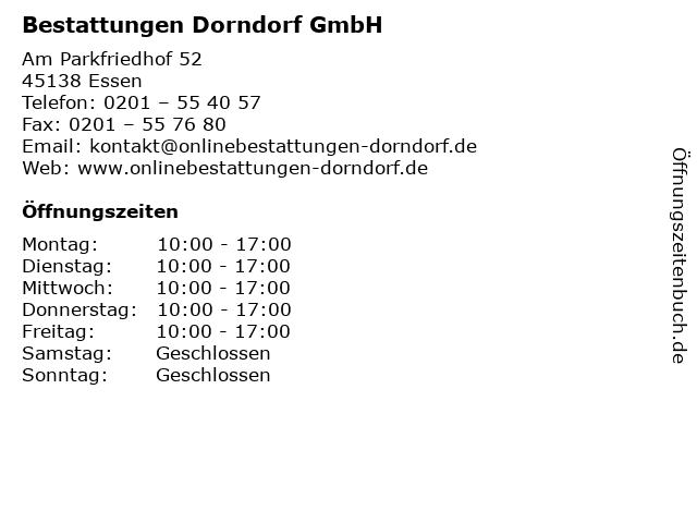 Bestattungen Dorndorf GmbH in Essen: Adresse und Öffnungszeiten