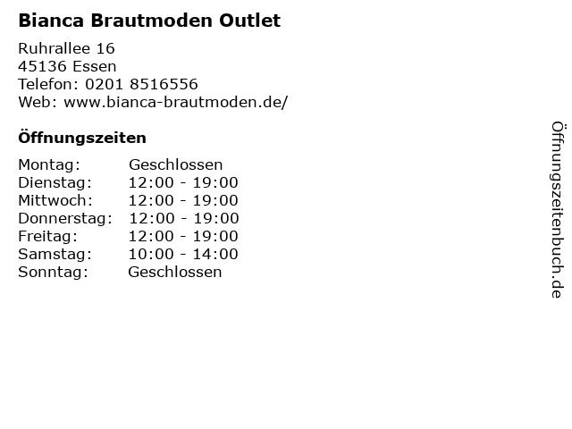 ᐅ Offnungszeiten Bianca Brautmoden Outlet Ruhrallee 16 In Essen