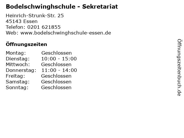 Bodelschwinghschule - Sekretariat in Essen: Adresse und Öffnungszeiten