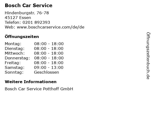 Bosch Car Service in Essen: Adresse und Öffnungszeiten