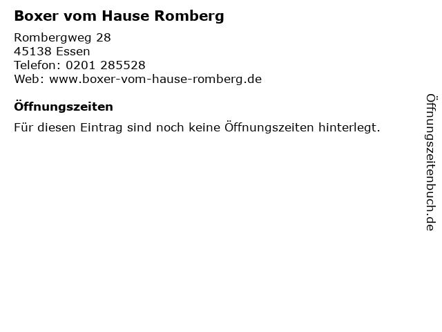 Boxer vom Hause Romberg in Essen: Adresse und Öffnungszeiten