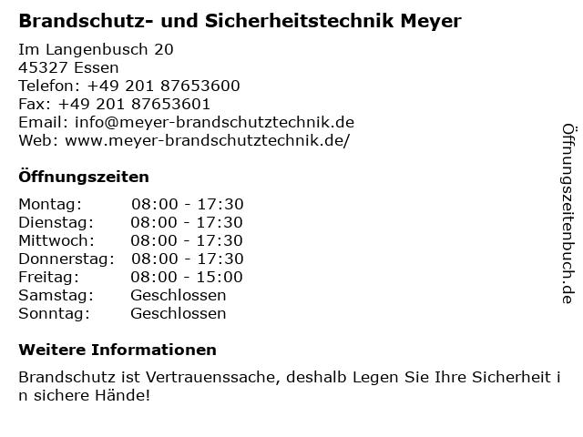 Brandschutz- und Sicherheitstechnik Meyer in Essen: Adresse und Öffnungszeiten