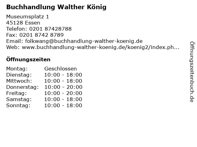 Buchhandlung Walther König in Essen: Adresse und Öffnungszeiten