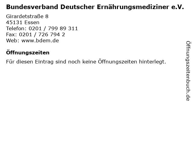 Bundesverband Deutscher Ernährungsmediziner e.V. in Essen: Adresse und Öffnungszeiten