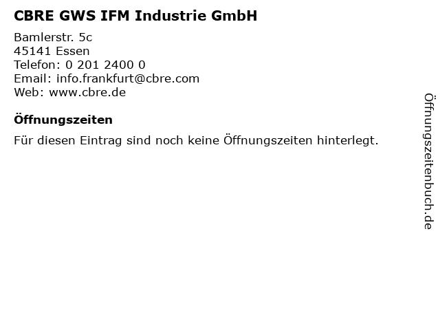 CBRE GWS IFM Industrie GmbH in Essen: Adresse und Öffnungszeiten