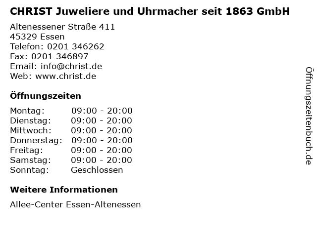 CHRIST Juweliere und Uhrmacher seit 1863 GmbH in Essen: Adresse und Öffnungszeiten