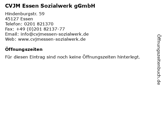 CVJM Essen Sozialwerk gGmbH in Essen: Adresse und Öffnungszeiten