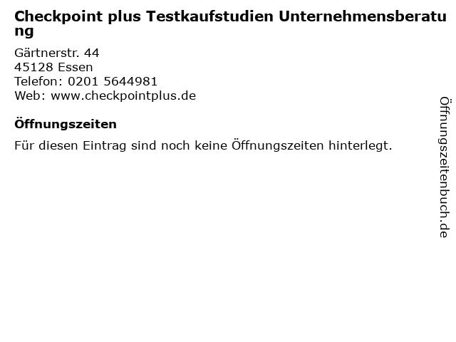 Checkpoint plus Testkaufstudien Unternehmensberatung in Essen: Adresse und Öffnungszeiten