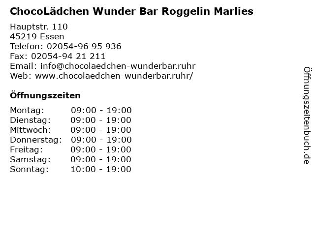 ChocoLädchen Wunder Bar Roggelin Marlies in Essen: Adresse und Öffnungszeiten