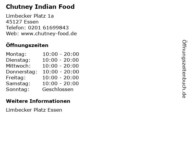 Chutney Indian Food in Essen: Adresse und Öffnungszeiten