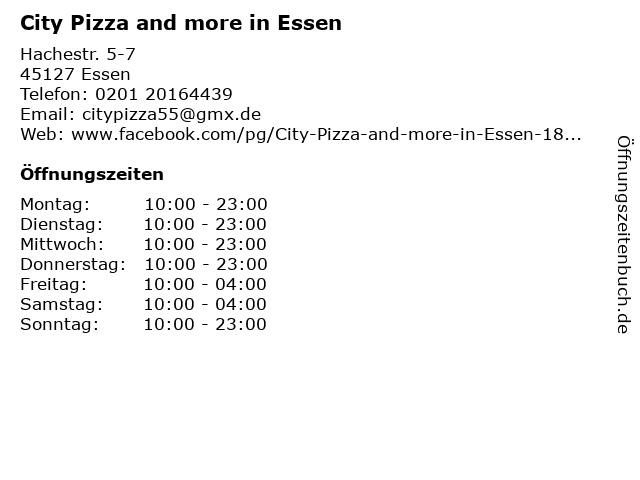 City Pizza and more in Essen in Essen: Adresse und Öffnungszeiten