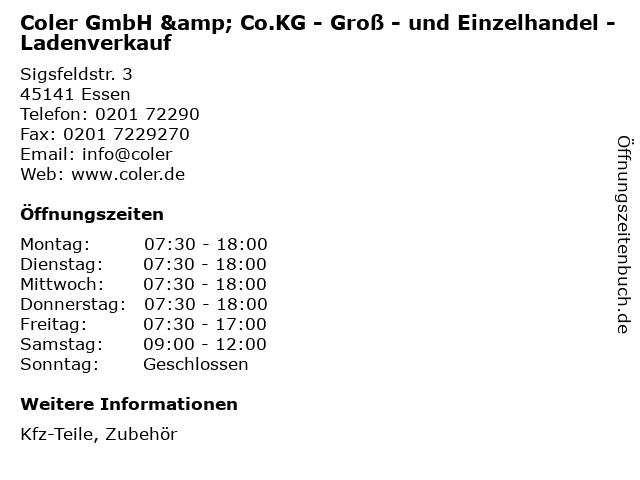 Coler GmbH & Co.KG - Groß - und Einzelhandel - Ladenverkauf in Essen: Adresse und Öffnungszeiten