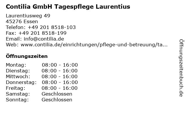 Contilia GmbH Tagespflege Laurentius in Essen: Adresse und Öffnungszeiten