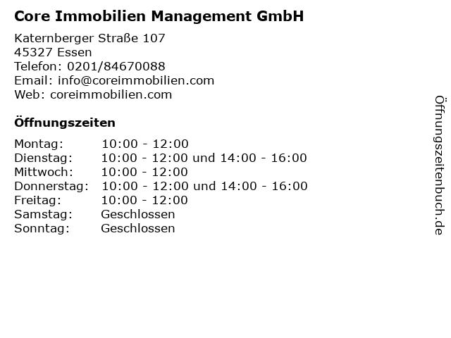 Core Immobilien Management GmbH in Essen: Adresse und Öffnungszeiten