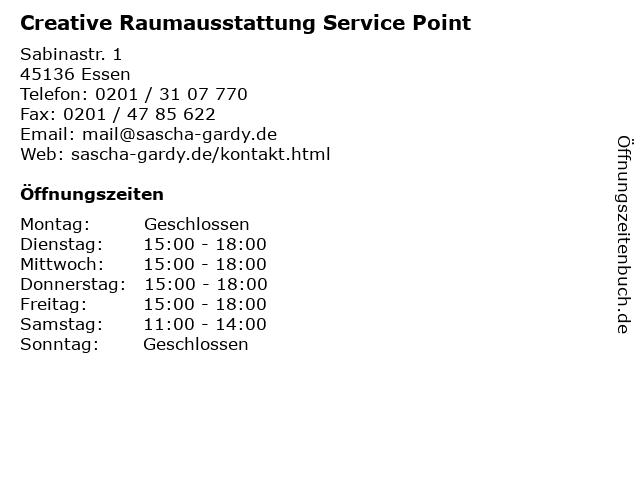 Creative Raumausstattung Service Point in Essen: Adresse und Öffnungszeiten