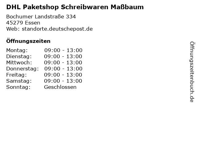 Dhl Paketshop Essen : ffnungszeiten dhl paketshop schreibwaren ma baum ~ A.2002-acura-tl-radio.info Haus und Dekorationen