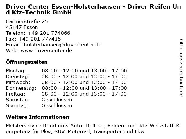 DRIVER CENTER ESSEN-HOLSTERHAUSEN - DRIVER REIFEN UND KFZ-TECHNIK GMBH in Essen: Adresse und Öffnungszeiten