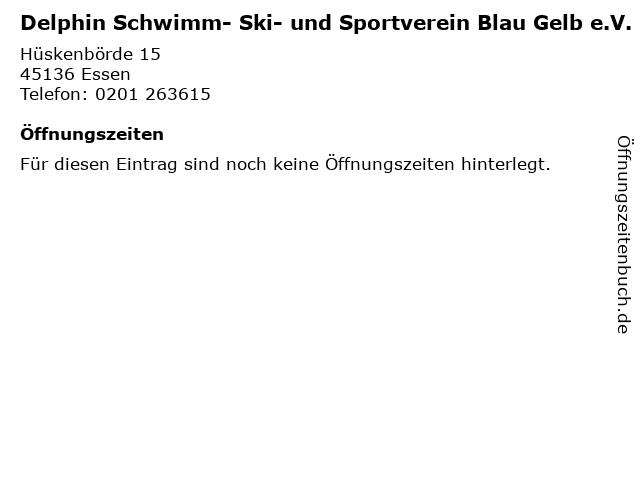 Delphin Schwimm- Ski- und Sportverein Blau Gelb e.V. in Essen: Adresse und Öffnungszeiten