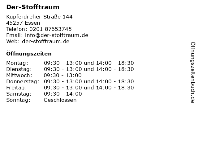 Der-Stofftraum in Essen: Adresse und Öffnungszeiten