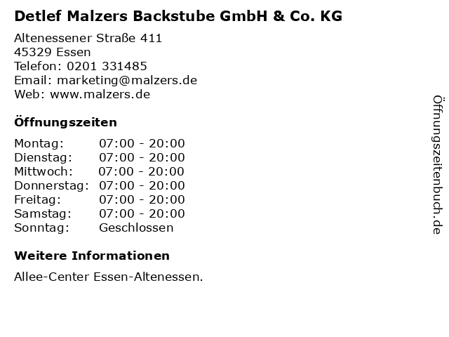 Detlef Malzers Backstube GmbH & Co. KG in Essen: Adresse und Öffnungszeiten