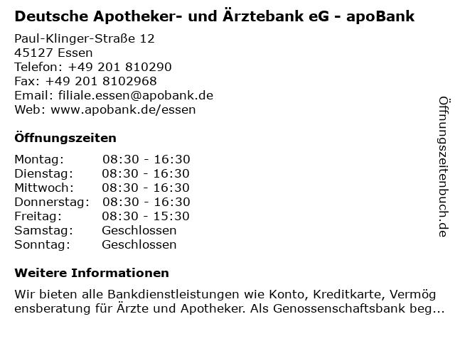 Deutsche Apotheker- und Ärztebank eG - apoBank in Essen: Adresse und Öffnungszeiten