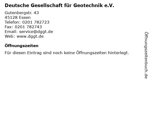 Deutsche Gesellschaft für Geotechnik e.V. in Essen: Adresse und Öffnungszeiten
