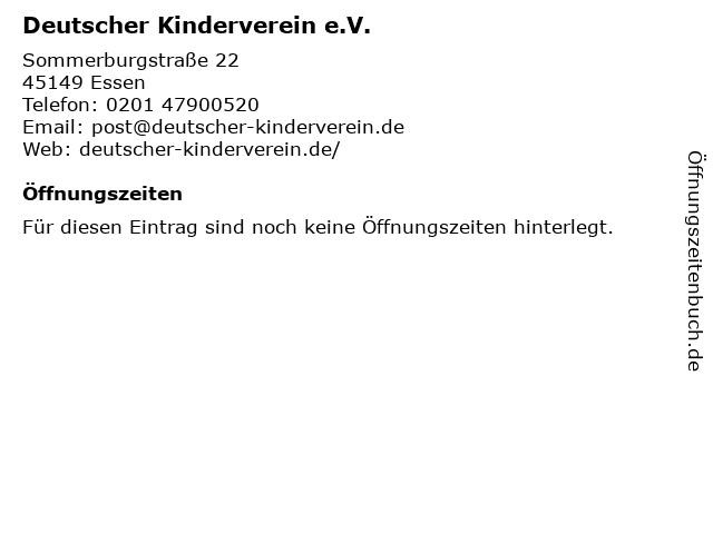 Deutscher Kinderverein e.V. in Essen: Adresse und Öffnungszeiten