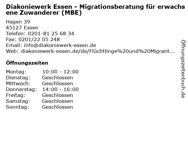 Diakoniewerk Essen - Migrationsberatung für erwachsene Zuwanderer (MBE) in Essen: Adresse und Öffnungszeiten