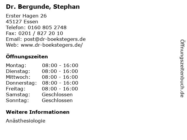 Dr. Bergunde, Stephan in Essen: Adresse und Öffnungszeiten