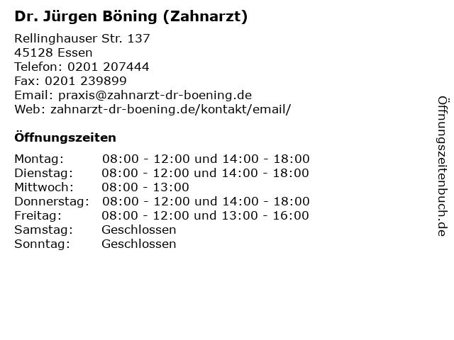 Dr. Jürgen Böning (Zahnarzt) in Essen: Adresse und Öffnungszeiten