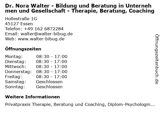 Dr. Nora Walter - Bildung und Beratung in Unternehmen und Gesellschaft - Therapie, Beratung, Coaching in Essen: Adresse und Öffnungszeiten