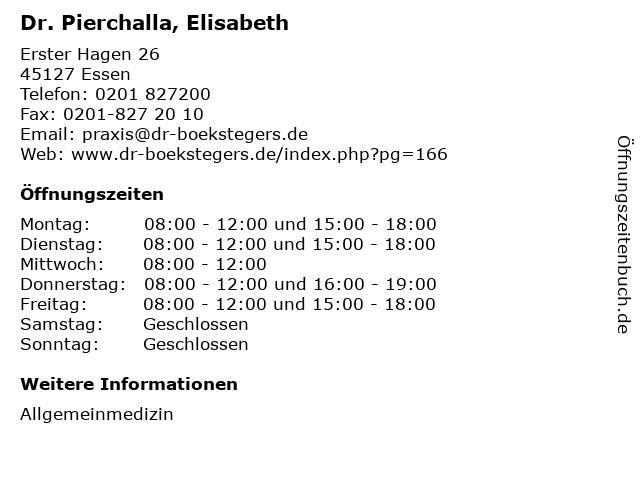 Dr. Pierchalla, Elisabeth in Essen: Adresse und Öffnungszeiten