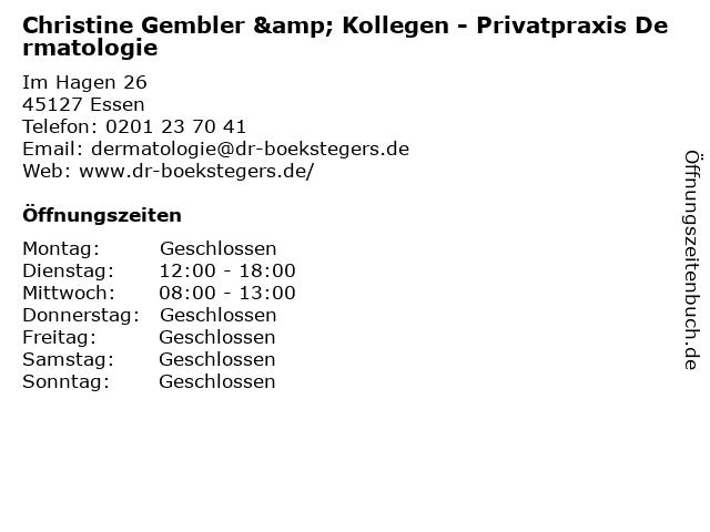 Dr. med. A. Boekstegers & Kollegen MVZ Praxis am Grillo-Theater GmbH in Essen: Adresse und Öffnungszeiten