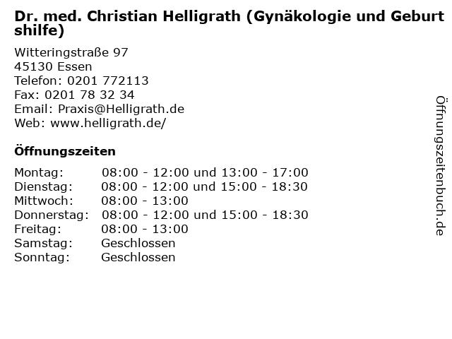 Dr. med. Christian Helligrath (Gynäkologie und Geburtshilfe) in Essen: Adresse und Öffnungszeiten