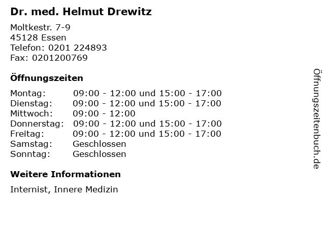 Dr. med. Helmut Drewitz in Essen: Adresse und Öffnungszeiten